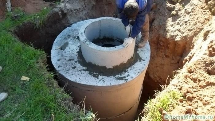 Сооружение кессона с использованием бетонных колец