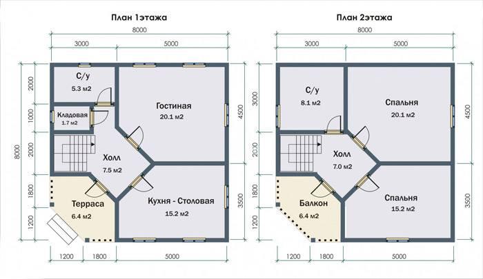 Проект дома с ромбовидным расположением холла