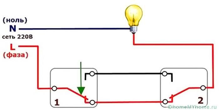 При подключении одноклавишного прибора применяется данная схема