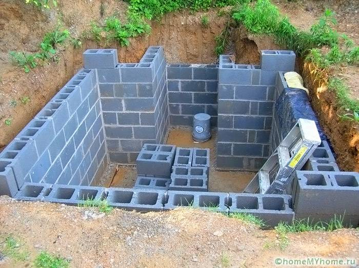 Стены устраиваются с применением готовых блоков