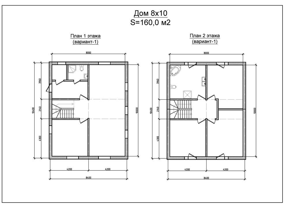 План двухэтажного дома 8 х 10 м