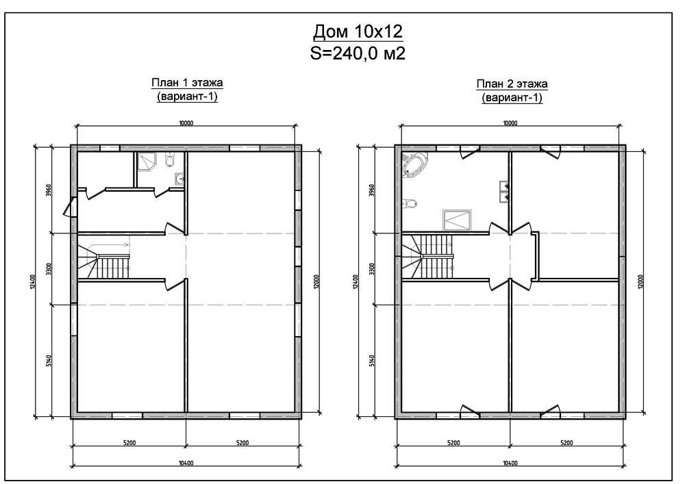 План двухэтажного дома 10 х 12 м