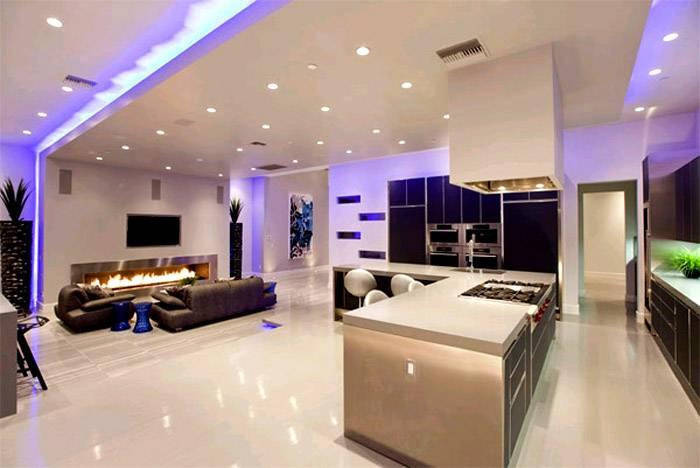 Светодиодные приборы при декорировании больших помещений