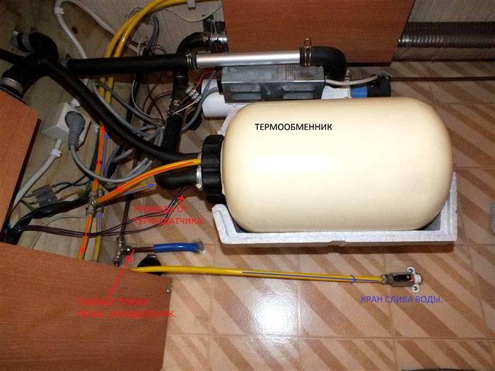 Процесс закачки жидкости в отопительную систему