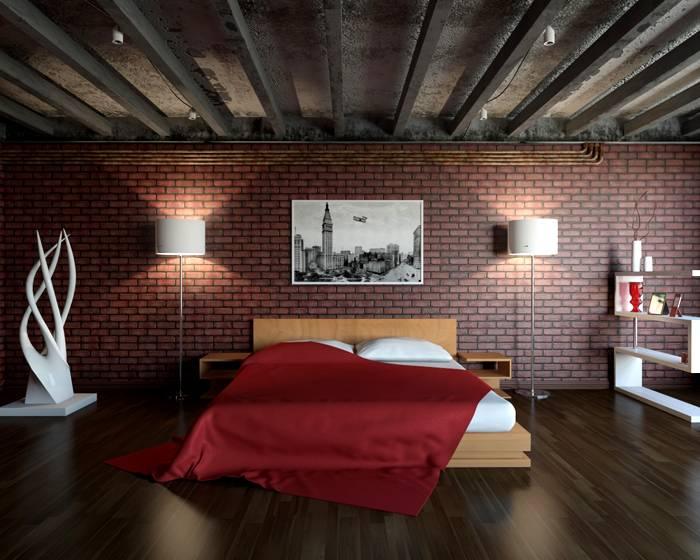 Бетонная поверхность подходит не только для гостиной, он отлично смотрится и в спальне