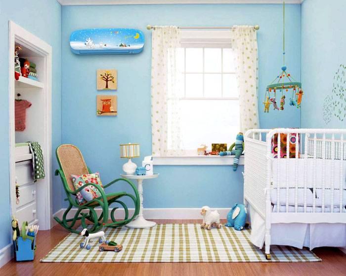 Работающий кондиционер в детской комнате может использоваться для нагрева и охлаждения только при одновременном обеспечении нормального уровня влажности