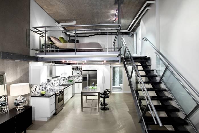 Сочетание металла, бетона и стекла – характерные признаки стиля INDUSTRIAL