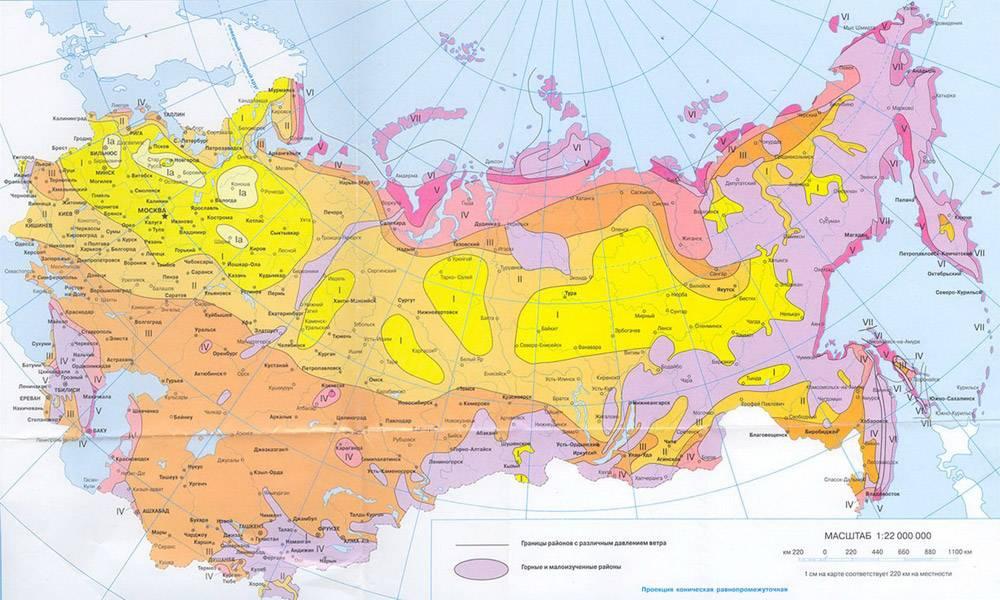 Представлена специальная карта для определения нагрузки, создаваемой ветром