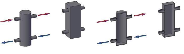 Типичные гидрострелки в форме цилиндра и куба в разрезе