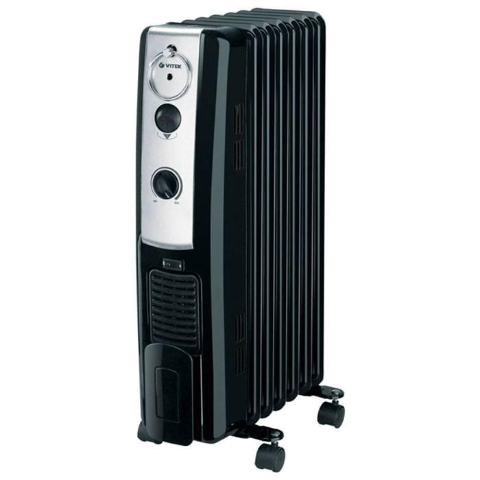 В этом масляном обогревателе есть встроенный вентилятор. Конвекционный нагрев объединен с потоком теплого воздуха