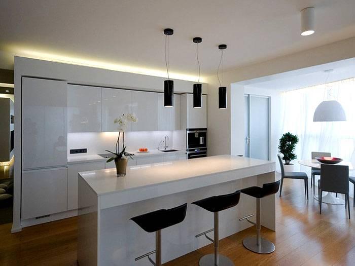 Подвесные светильники используются при оформлении кухни