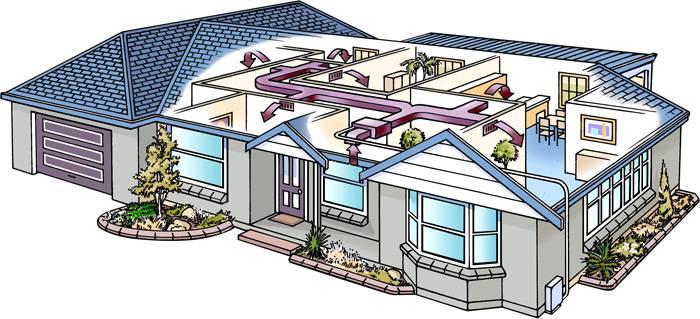 Система забирает воздух из-под потолка и возвращает его в зону, комфортную для человека