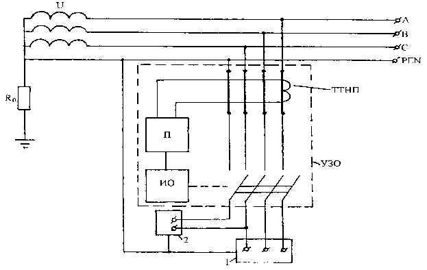 Схема при срабатывании ДИФ