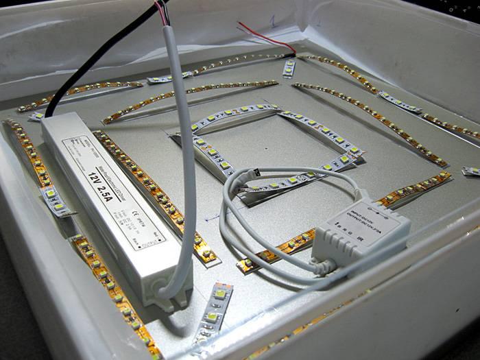 Установка отдельных элементов в осветительном приборе