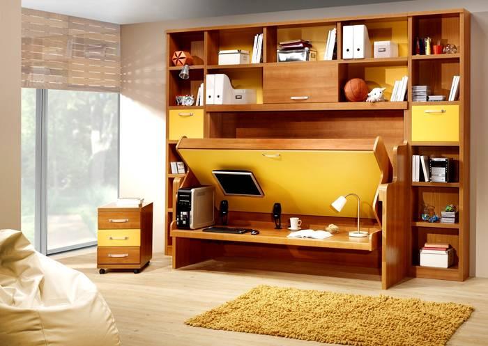 Механизм трансформации позволит создать рабочее пространство в маленькой комнате
