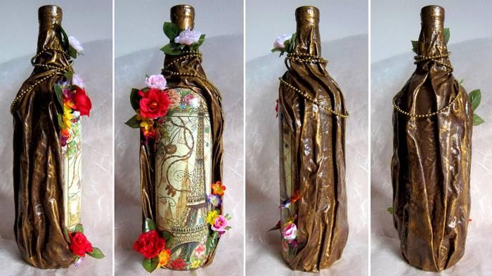 Великолепный декор из колготок и бутылки