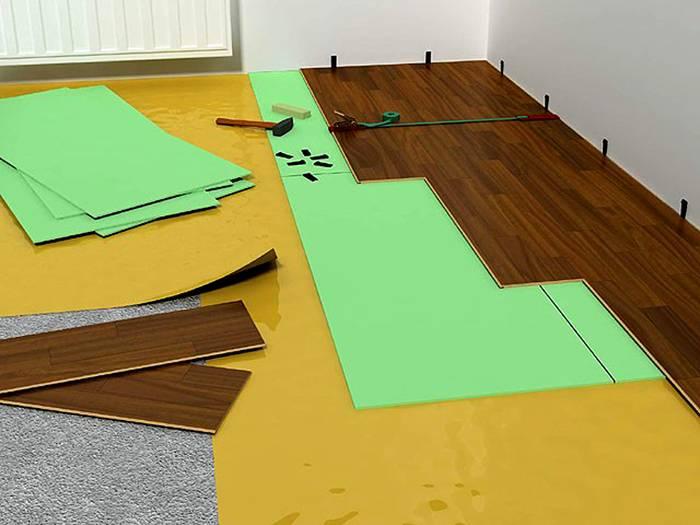 Вот так можно стелить на бетонный пол