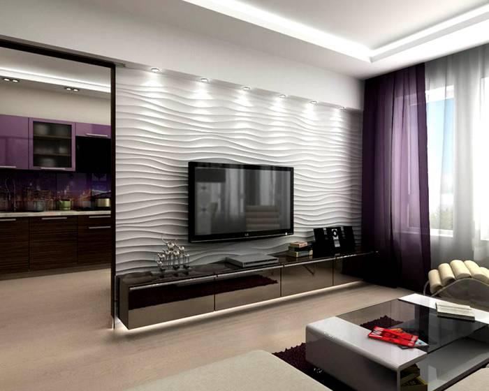 Для визуального «облегчения» крупного изделия в днище подвесной тумбы под телевизор встроена подсветка