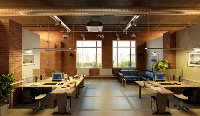 Стиль идеален для офисов, которые расположились под крышей