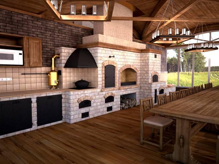 В комплексе стационарного мангала может быть разделочный стол, место для хранения дров. Можно добавить в комплект казан, русскую печь