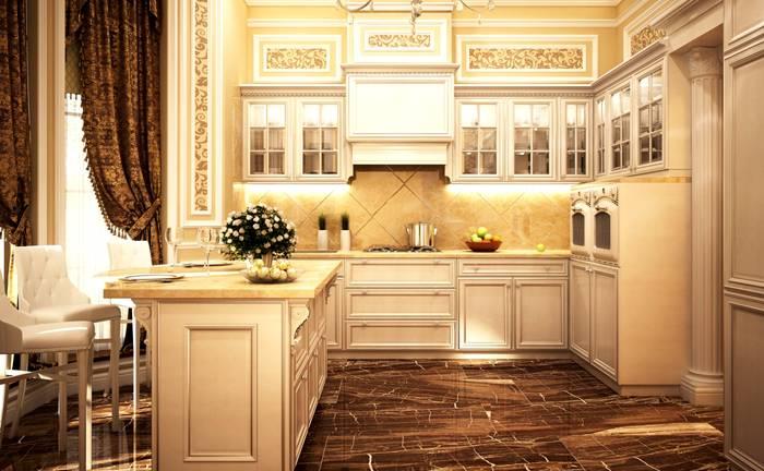 В классических интерьерах часто применяют бежевые и коричневые оттенки