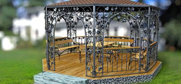 Для создания единого ансамбля ковку можно использовать в ограде, скамьях и оформлении клумб