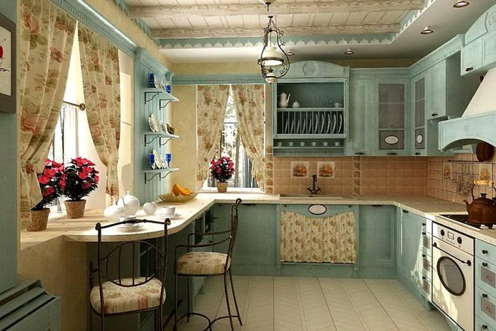 Кухня с оригинальной текстурой стен