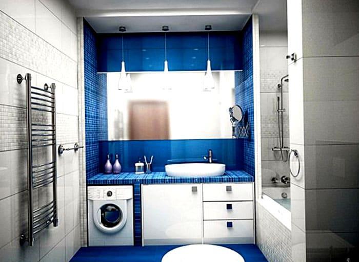 Под столешницей стиральная машина смотрится хорошо, не мешает проходу, вписывается в мебель
