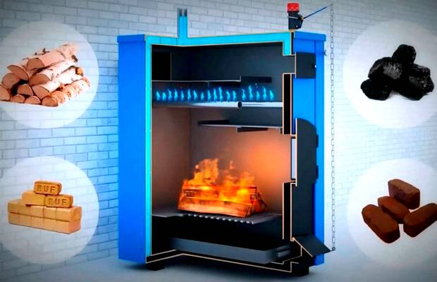 Современные печи имеют большую мощность и могут работать на разных типах твердотопливного сырья