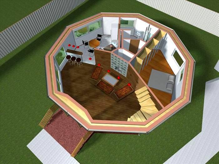 В качестве второго этажа использована лишь четверть площади основания