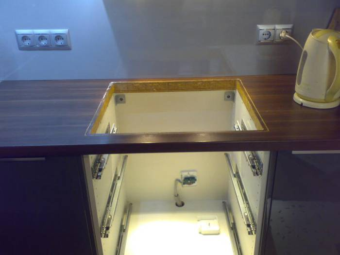 Установка панели в столешницу