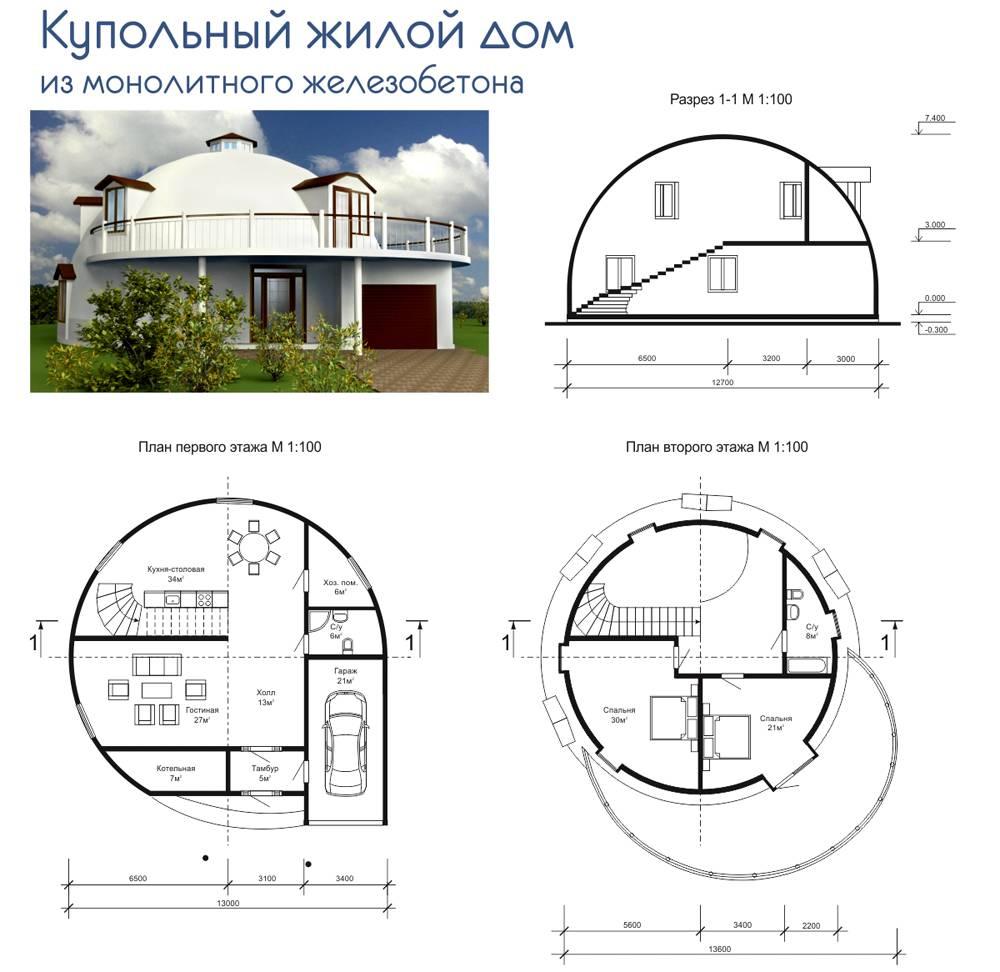 Планировка купольного дома из монолитного железобетона