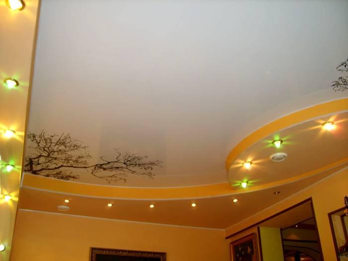 Вариант сочетания с рисунком на потолке