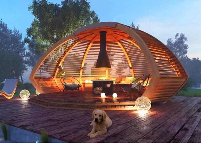 Беседка, оформленная в виде купольной конструкции