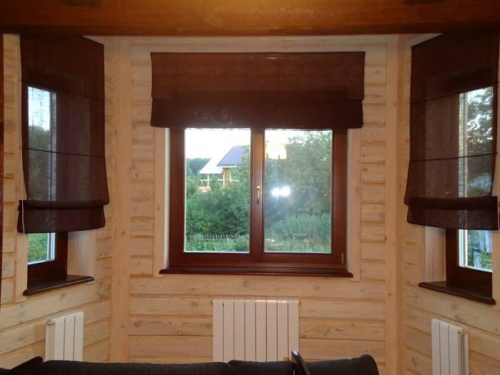 Льняной вариант в деревянном доме