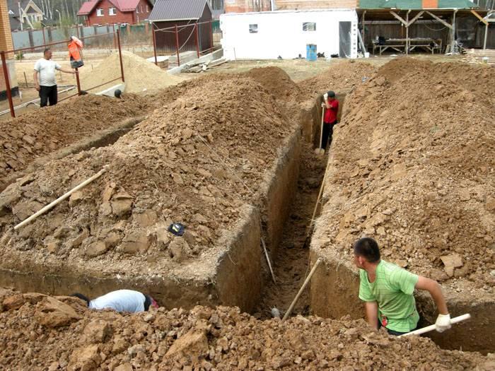 В процессе подготовки котлована под основание дома станет заметна структура почвы и обнаружатся все проблемные участки