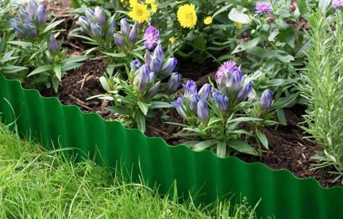 Цветник с пластиковой оградой
