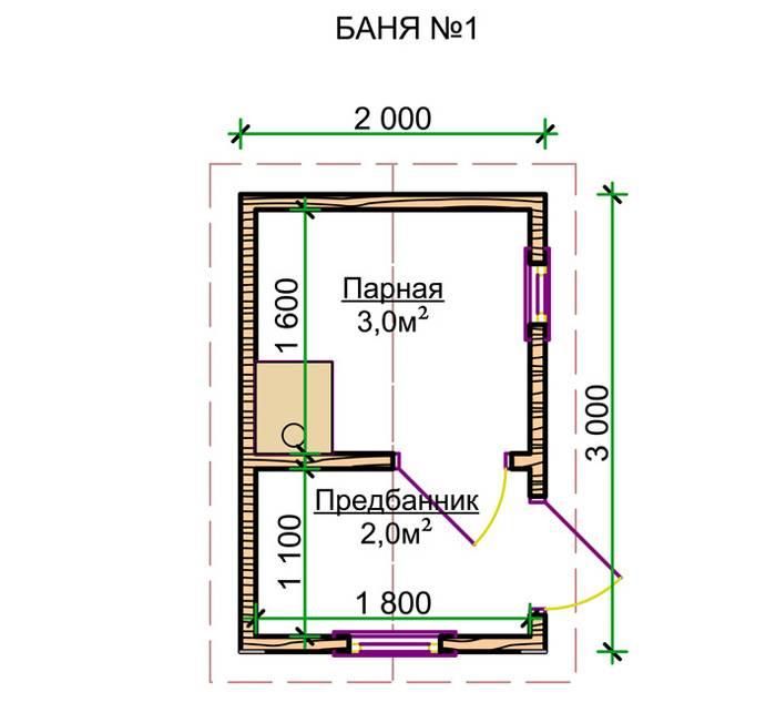 На схеме изображен проект маленькой бани 2*3