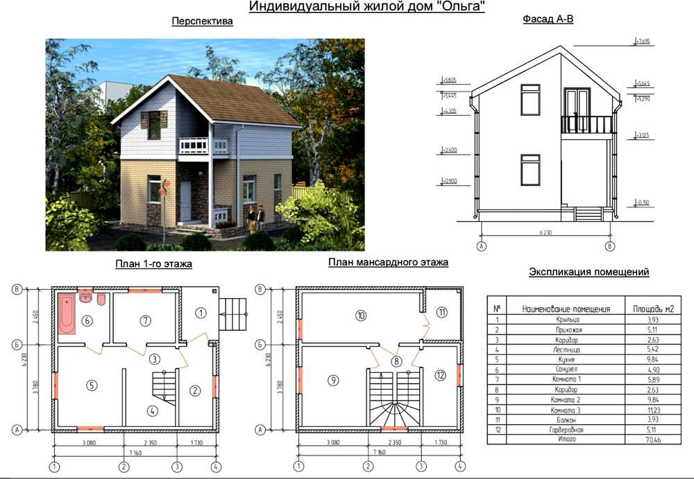 Пример проекта дома площадью 70 квадратных метров