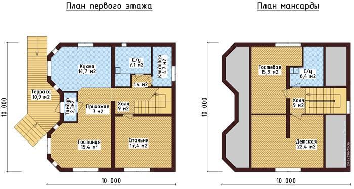 Планировка дома одноэтажного с мансардой 10х10 метров