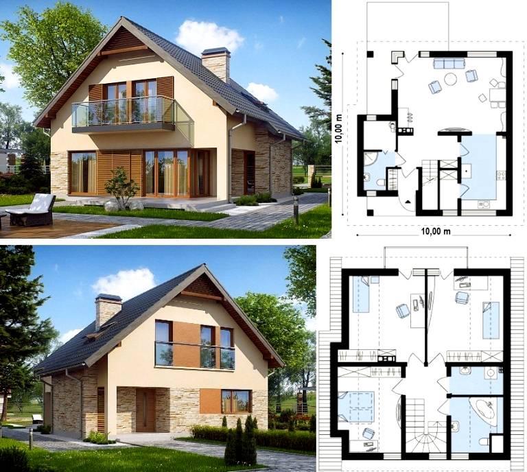 Пример планировки комнат дома 10х10 одноэтажного метров