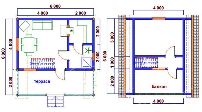 Пример планировки дома 6х6
