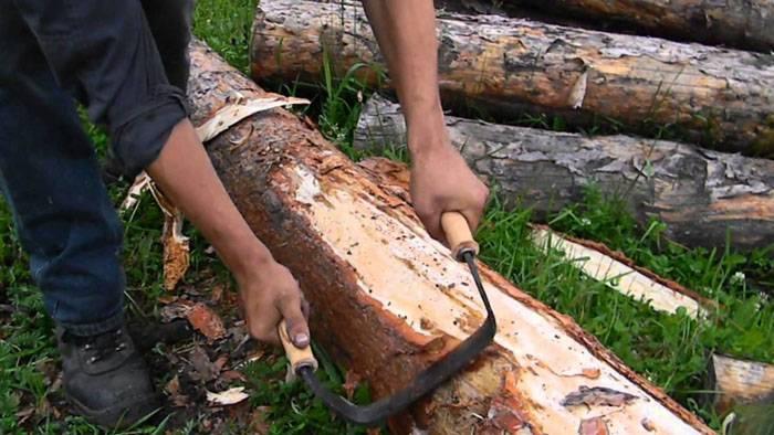 Важно снять с материала кору в местах, где она сохранилась. Под корой могут оставаться древогрызущие насекомые, которые быстро испортят древесину
