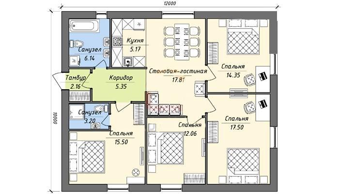 Проектирование дома 10 на 12
