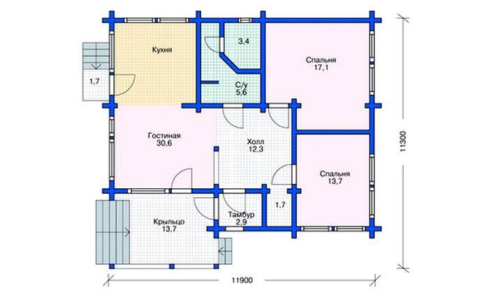 План дома 11 на 11