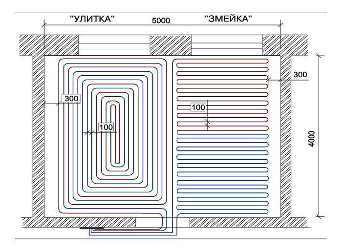 Схематический рисунок вариантов укладки с нужным шагом
