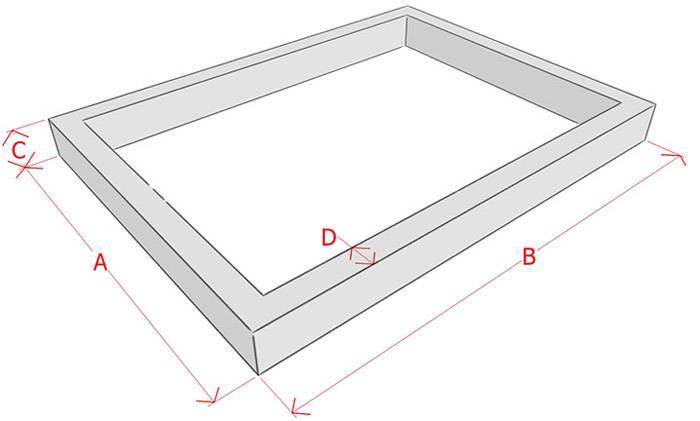 Схема: длина, толщина и высота термоопалубки, нужная для расчетов