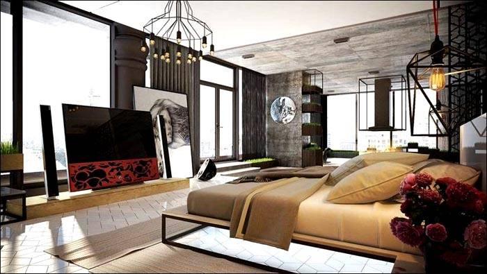 Просторный вариант получится при совмещении спальни со студией