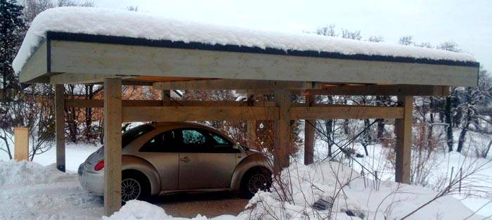 Навес над машиной значительно упрощает эксплуатацию в зимний период