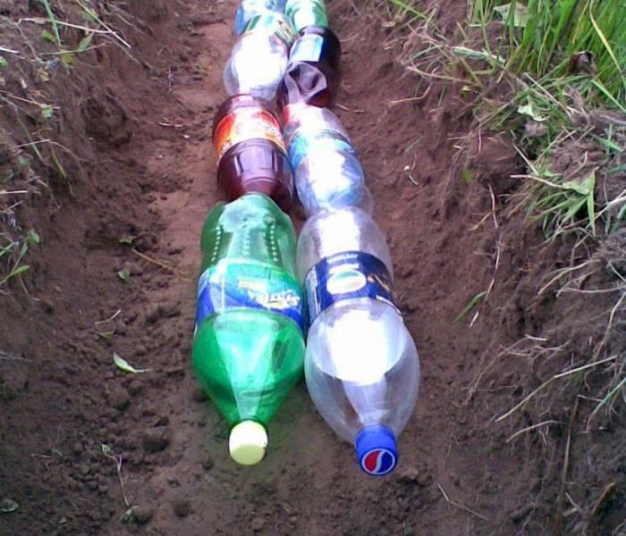 Конструкция для дренажа из пластиковых бутылок